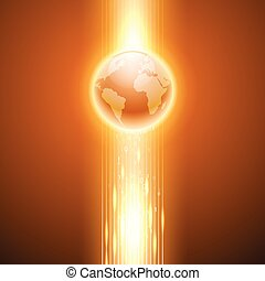Orange background with binary code to the globe.