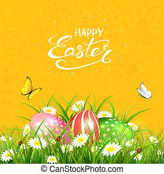 Orange background with butterflies and Easter eggs in grass