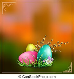 orange background with easter eggs with green grass and a branch of willow