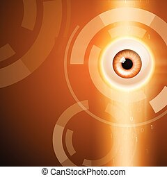 Orange background with eye