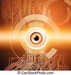 Orange background with eye and circuit