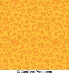 Orange background with halloween pattern.