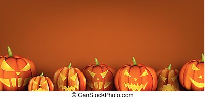 Orange background with halloween pumpkins.