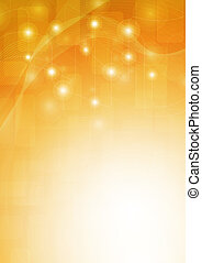 orange background with lines, squares, and the glow