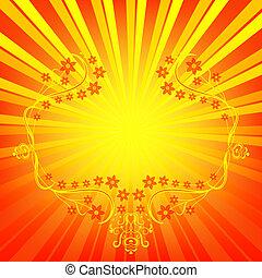 Orange background with rays