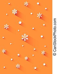 Orange background with snowflakes
