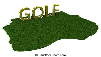Orange background with the text Golf.