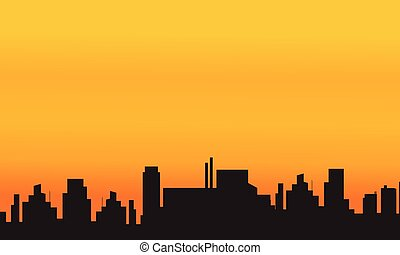 Orange backgrounds city silhouettes