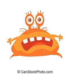 Orange Bacteria Cartoon Vector Character Icon