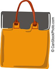 Orange bag, illustration, vector on white background.