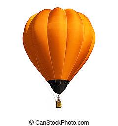 orange, balloon, blanc, isolé, fond