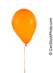 Orange balloon for birthday and celebrations isolated on white background