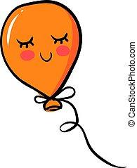 Orange balloon, illustration, vector on white background.