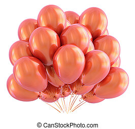 Orange balloons bunch. Party, birthday decoration glossy