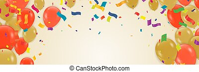 Orange balloons, bunting flags, confetti on background, Autumn concept design, halloween, copy space text