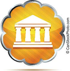 orange bank icon on a white