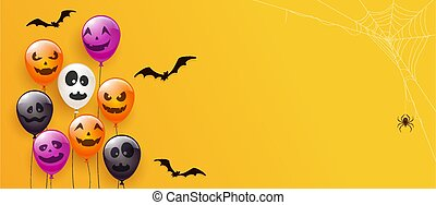Orange Banner with Scary Balloons and Spider