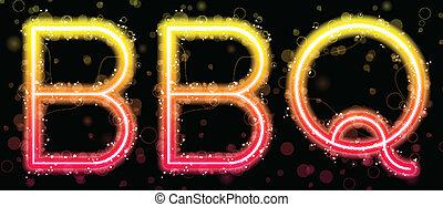 orange, barbecue, néon, signe jaune