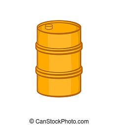 Orange barrel icon, cartoon style