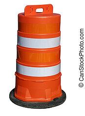 Orange barrel on white - One orange construction barrel...