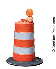 Orange Barrel - Orange road barrel isolated on white