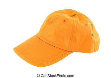 Orange baseball cap isolated on white