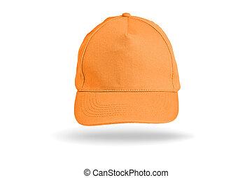 Orange Baseball Cap on a white background.