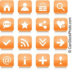 Orange basic sign rounded square icon web button