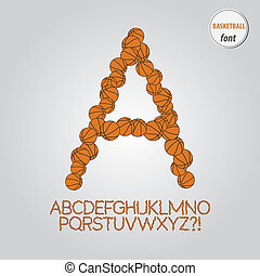Orange Basketball Alphabet Vector