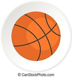 Orange basketball ball icon circle