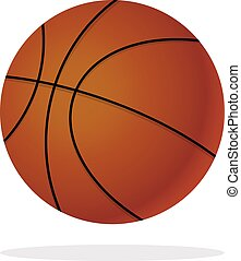 Orange Basketball ball in trendy flat style isolated.