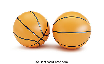 Orange Basketball ball on a white background 3d Illustrations