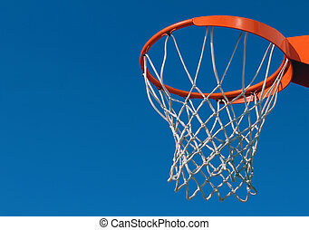 Orange basketball rim (hoop) and white net against blue sky