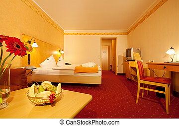 Orange Bedroom In Hotel