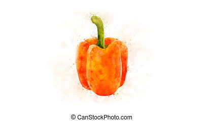 Orange bell pepper on a transparent backgroun - Animation of...