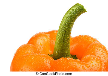 Orange bell pepper with drops water isolated on white background.