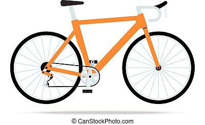 Orange bicycle flat icon. Bike Vector isolated on white background. Flat vector illustration in black. EPS 10