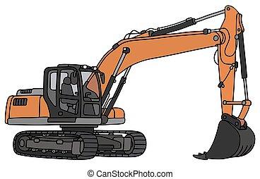 Orange big excavator - Hand drawing of a gray and orange big...