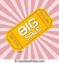 Orange Big Sale Paper Ticket on Pink Background