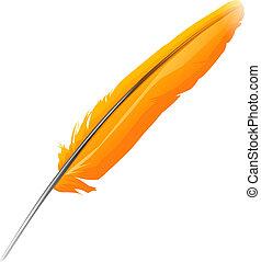 Orange bird feather, realistic icon