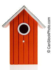 Orange bird house isolated over white background