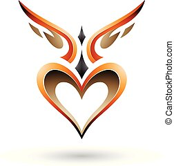 Orange Bird Like Winged Heart with a Shadow Vector Illustration