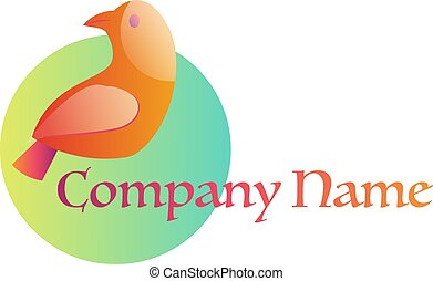 Orange bird on green circle logo vector illustration on a white background