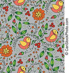 orange bird, plant and flower on gray background