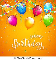 Orange Birthday background with pennants and balloons