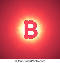 Orange bitcoin cryptocurrency in the bright rays on a pink background