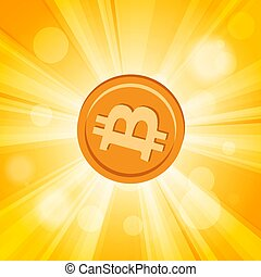 Orange bitcoin cryptocurrency in the bright yellow  rays of sun