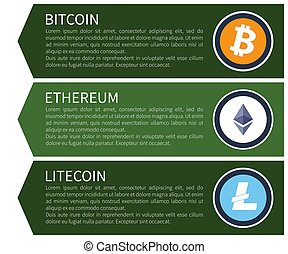 Orange Bitcoin, White Ethereum and Blue Litecoin