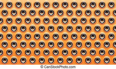 Orange Black and Grey Embossed Round Loudspeaker Background Vector Illustration