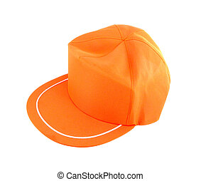 orange, blanc, casquette, isolé, fond
